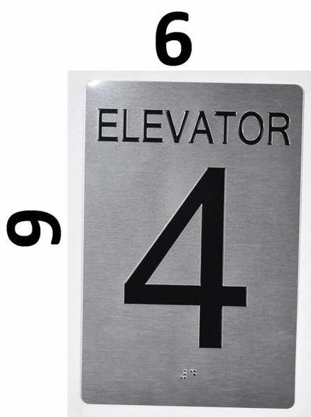 Elevator 4 Sign Silver - Tactile Touch Braille Sign