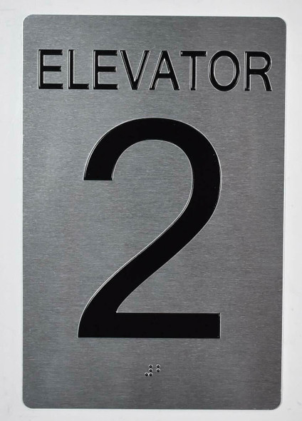 Elevator 2 Sign Silver - Tactile Touch Braille Ada Sign