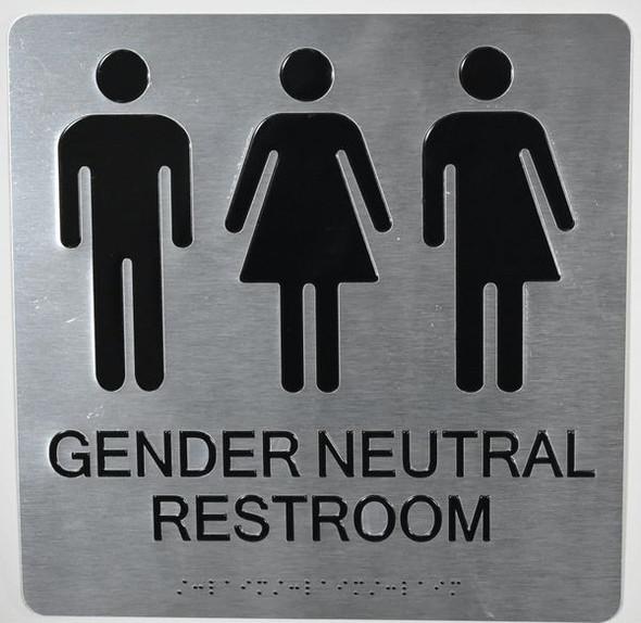 Silver Gender Neutral Restroom Wall Sign