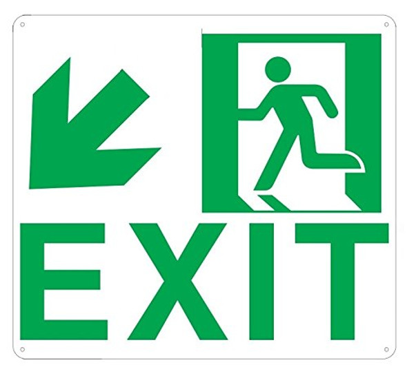 Exit Arrow Left Down Sign -Glow in The Dark Sign - Photoluminescent,High Intensity