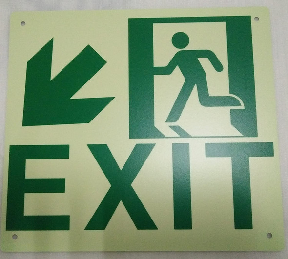Exit Arrow Left Down Signage -Glow in The Dark Signage - Photoluminescent,High Intensity