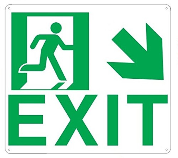 Exit Arrow Right Down Sign (Glow in The Dark Sign - Photoluminescent,High Intensity