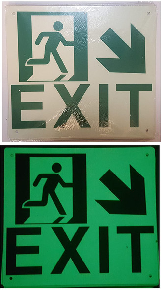 Exit Arrow Right Down Signage (Glow in The Dark Signage - Photoluminescent,High Intensity