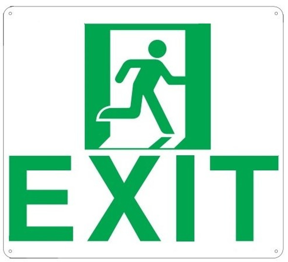 Exit Sign (Glow in The Dark Sign - Photoluminescent,High Intensity