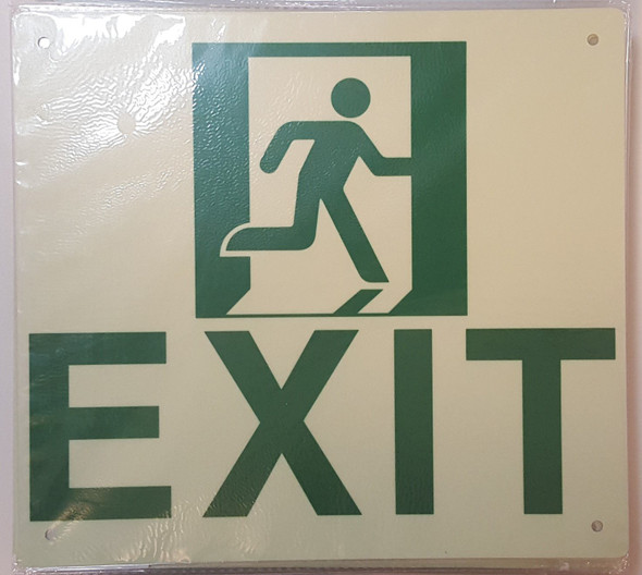 Exit Signage (Glow in The Dark Signage - Photoluminescent,High Intensity