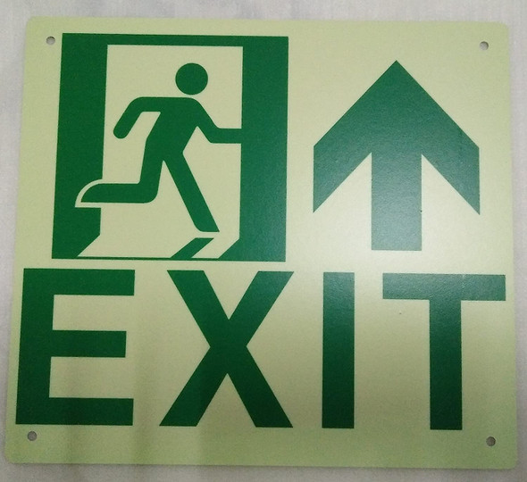 Exit Arrow UP Signage(Glow in The Dark Signage - Photoluminescent,High Intensity