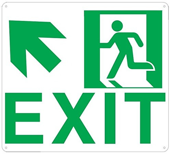 Exit Arrow UP Left Sign(Glow in The Dark Sign - Photoluminescent,High Intensity