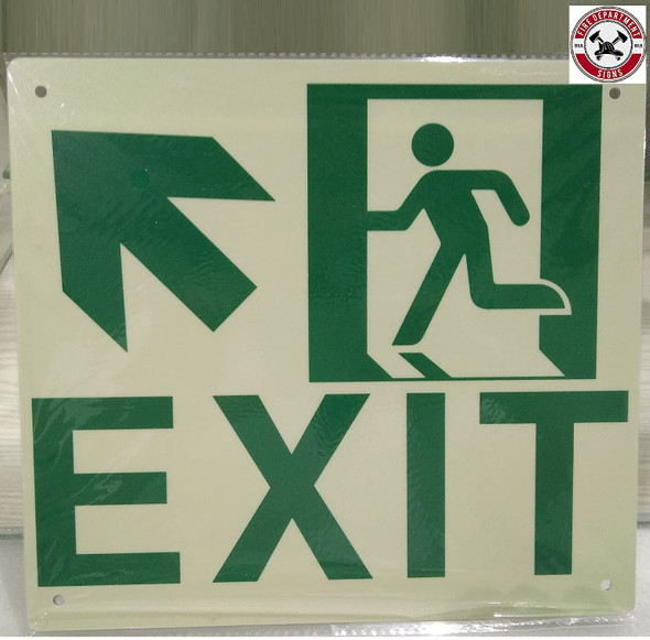 Exit Arrow UP Left Signage(Glow in The Dark Signage - Photoluminescent,High Intensity