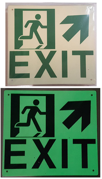 Exit Arrow UP Right Signage(Glow in The Dark Signage - Photoluminescent,High Intensity