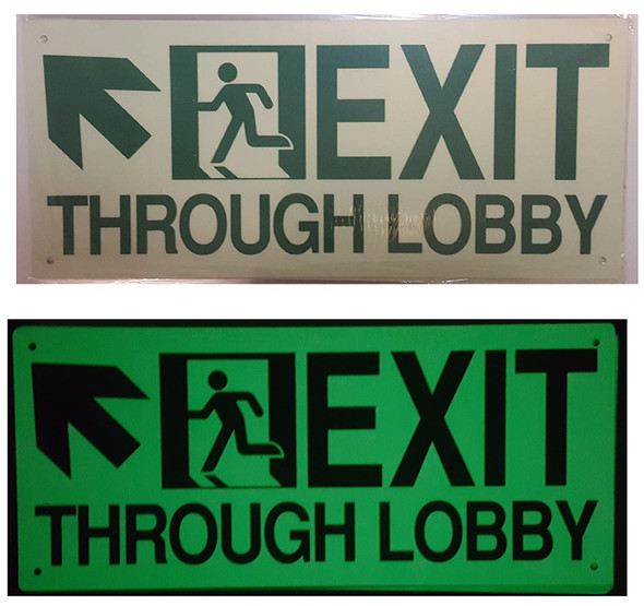 Exit Through Lobby UP Left SignGlow