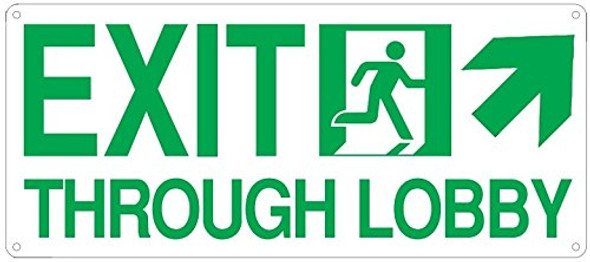 Exit Through Lobby UP Right Arrow Sign(Glow in The Dark Sign - Photoluminescent,High Intensity