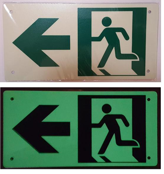 RUNNING MAN LEFT ARROW Signage -(Photoluminescent ,High Intensity