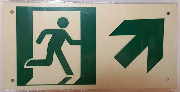 RUNNING MAN UP RIGHT ARROW Sign (Photoluminescent ,High Intensity