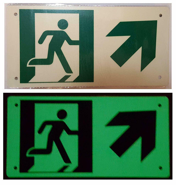RUNNING MAN UP RIGHT ARROW Signage (Photoluminescent ,High Intensity