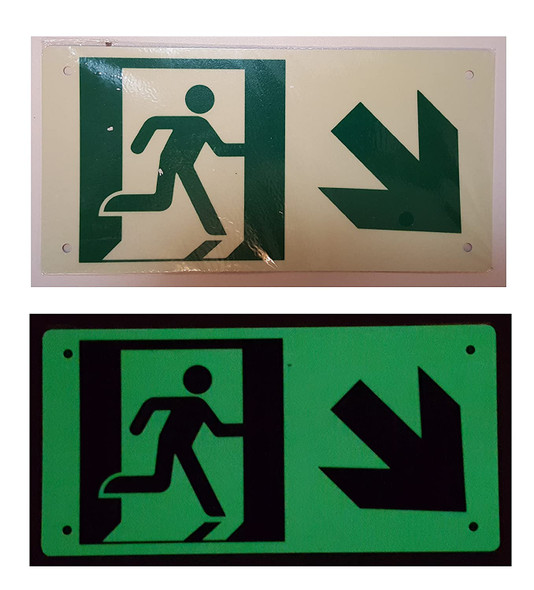 RUNNING MAN DOWN RIGHT Signage - Photoluminescent ,High Intensity