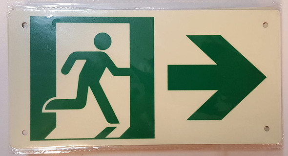 RUNNING MAN RIGHT ARROW Sign (Photoluminescent ,High Intensity