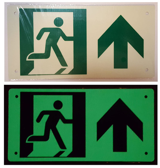 RUNNING MAN UP ARROW Signage - (Photoluminescent ,High Intensity