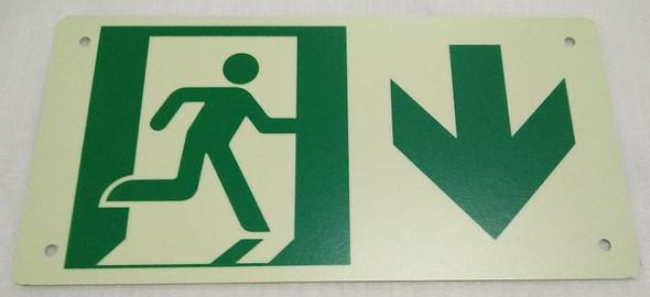 RUNNING MAN DOWN ARROW Sign - (Photoluminescent ,High Intensity
