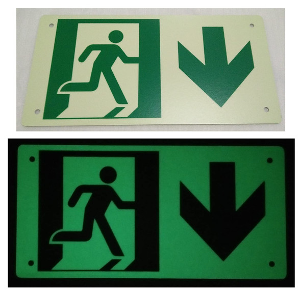 RUNNING MAN DOWN ARROW Signage - (Photoluminescent ,High Intensity