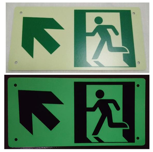 RUNNING MAN UP LEFT ARROW Signage - (Photoluminescent ,High Intensity