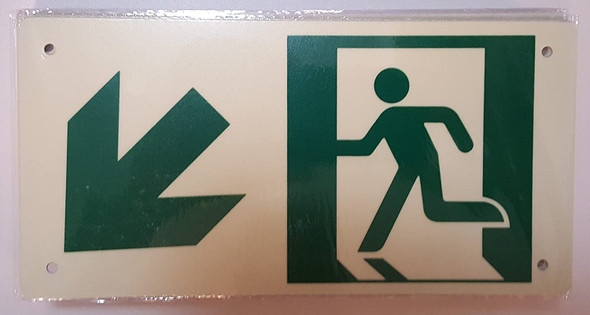 RUNNING MAN DOWN LEFT ARROW SIGN