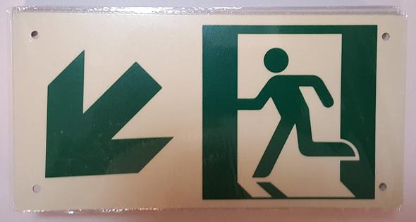RUNNING MAN DOWN LEFT ARROW Sign - (Photoluminescent ,High Intensity