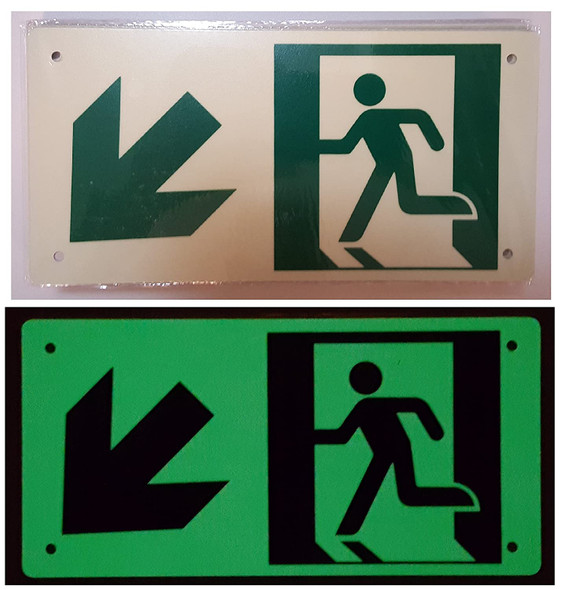 RUNNING MAN DOWN LEFT ARROW Signage - (Photoluminescent ,High Intensity