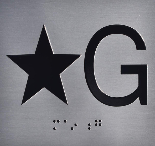 Star Ground (Star G) Floor Elevator Jamb Plate Sign with Braille and Raised Number-Elevator Floor Number Sign  Elevator sign