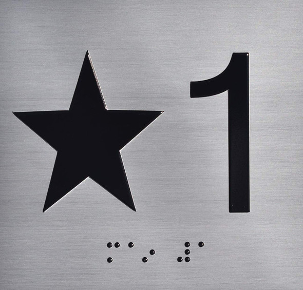 Star 1 (Star 1ST) Elevator Jamb Plate Sign with Braille and Raised Number-Elevator Floor Number Sign  Elevator sign