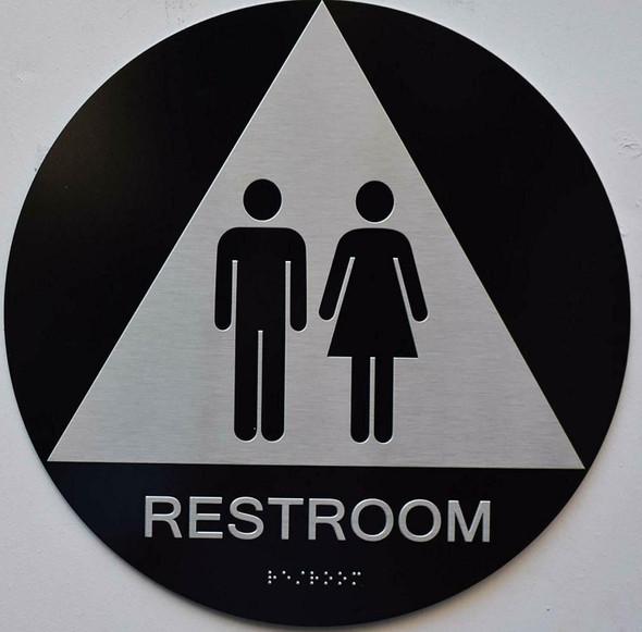 Black Unisex Restroom CA Sign