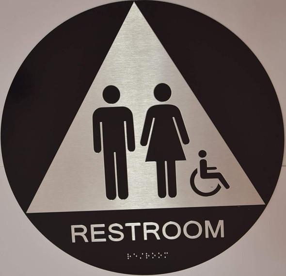 Unisex ACCESSIBLE Restroom CA Ada Sign