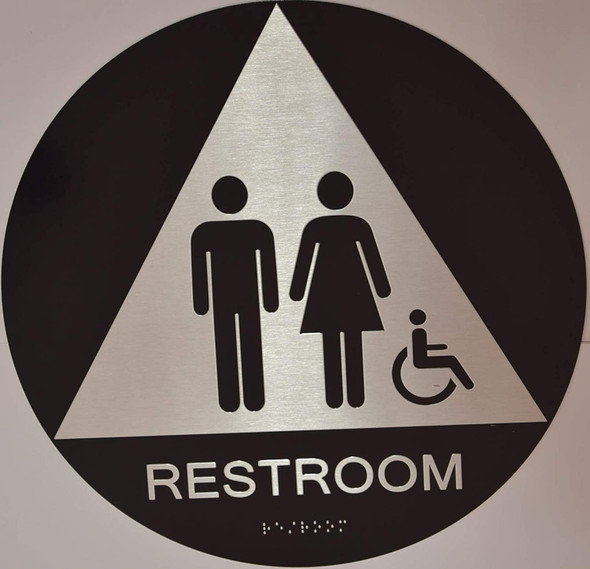 Black Unisex ACCESSIBLE Restroom CA