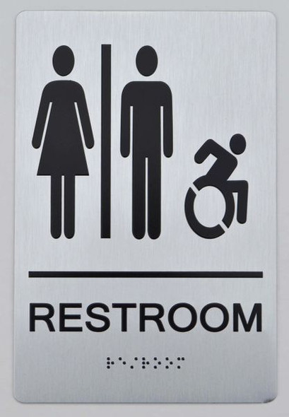 UNISEX ACCESSIBLE RESTROOM ADA Sign -Tactile Signs The sensation line  Ada sign