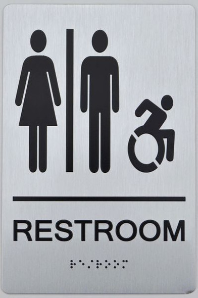 UNISEX ACCESSIBLE RESTROOM  Braille sign -Tactile Signs The sensation line   Braille sign