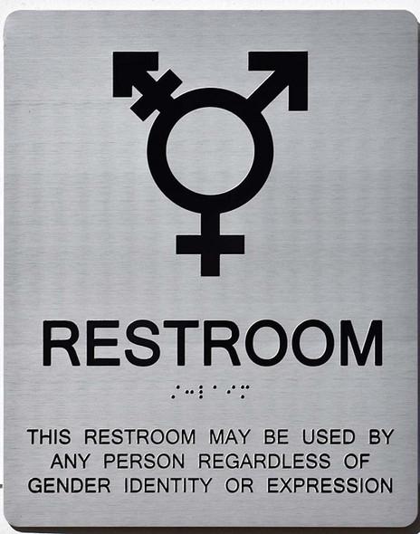 Gender Neutral Symbols Restroom Wall Sign (Silver)