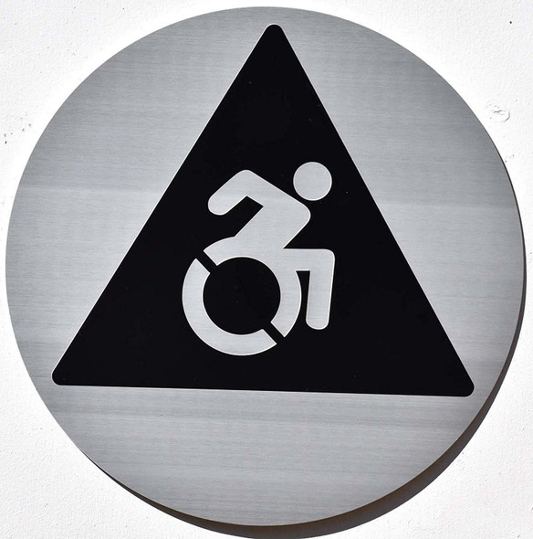 Unisex Restroom Door Sign with Wheelchair Symbols -Tactile Signs   Braille sign