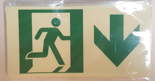 RUNNING MAN DOWN ARROW Signage -Adhesive Signage (Photoluminescent ,High Intensity