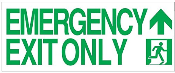 EMERGENCY EXIT ONLY ARROW up SIGN-Glow-In-The-Dark