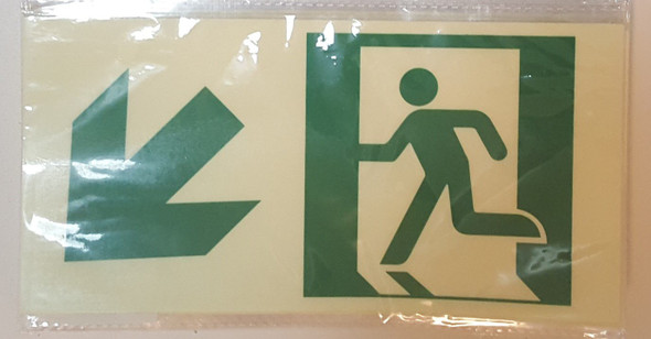 RUNNING MAN DOWN LEFT ARROW EXIT Signage -Glow-In-The-Dark High Intensity-Adhesive Signage (Photoluminescent ,High Intensity