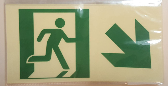 RUNNING MAN DOWN RIGHT ARROW EXIT Signage -Glow-In-The-Dark High Intensity-Adhesive Signage (Photoluminescent ,High Intensity