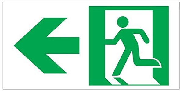 RUNNING MAN DOWN LEFT ARROW EXIT Signage -Adhesive Signage (Photoluminescent ,High Intensity