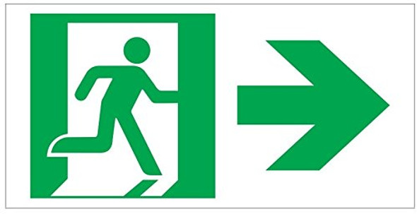 RUNNING MAN RIGHT ARROW EXIT Sign -Adhesive Sign (Photoluminescent ,High Intensity