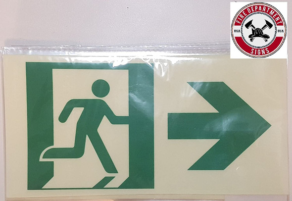 RUNNING MAN RIGHT ARROW EXIT Signage -Adhesive Signage (Photoluminescent ,High Intensity