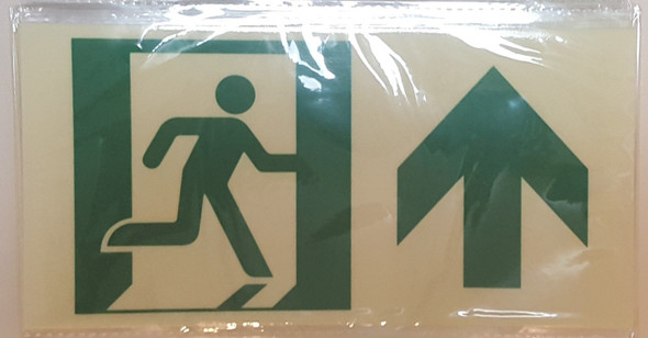 RUNNING MAN FORWARD ARROW Signage -Glow-In-The-Dark High Intensity-Adhesive EXIT Signage (Photoluminescent ,High Intensity