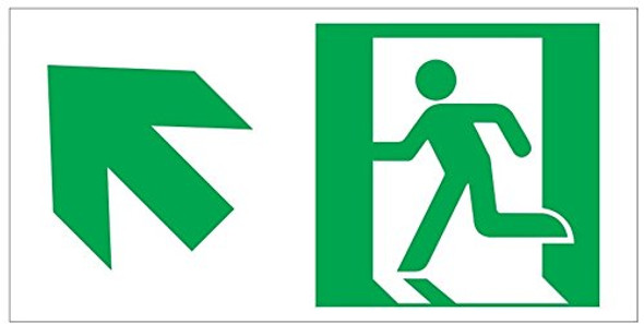 RUNNING MAN UP LEFT EXIT Sign -Glow-In-The-Dark High Intensity-Adhesive Sign (Photoluminescent ,High Intensity