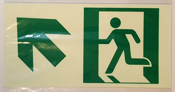 RUNNING MAN UP LEFT EXIT Signage -Glow-In-The-Dark High Intensity-Adhesive Signage (Photoluminescent ,High Intensity