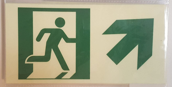 RUNNING MAN UP RIGHT EXIT Signage -Glow-In-The-Dark High Intensity-Adhesive Signage (Photoluminescent ,High Intensity