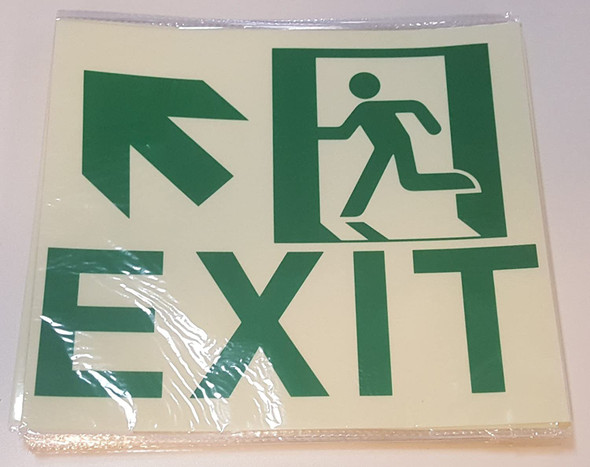 Exit Sign-UP Left -Adhesive Sign !! (Glow in The Dark Sign - Photoluminescent,High Intensity