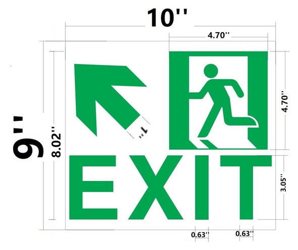 Exit Signage-UP Left -Adhesive Signage !! (Glow in The Dark Signage - Photoluminescent,High Intensity