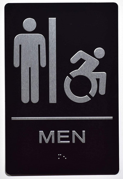 Men ACCESSIBLE Restroom Sign The Sensation line -Tactile Signs   Braille sign